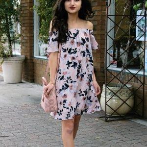blush pink floral off the shoulder shift dress